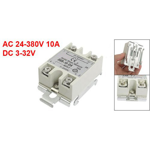 DC-AC 10A 3-32VDC 24-380VAC SSR-10DA Gri Solid State Röle DIN Ray Base w