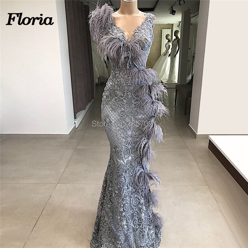 Couture Dubai Feathers Formal Evening Dresses Abendkleider Arabic Couture New Prom Dress For Weddings Robe de soiree Party Gowns