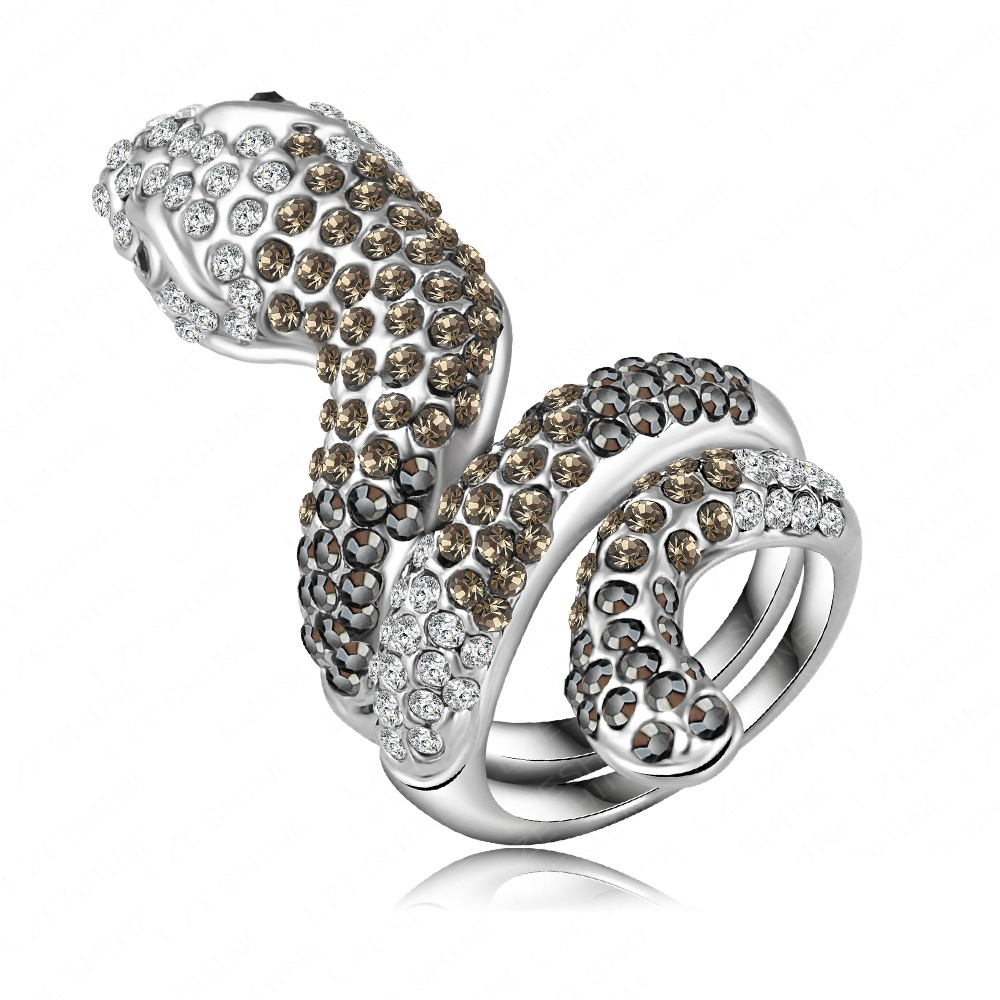 Top European Fashion Punk 3D Snake Engagement Ring With Silver Plating Czech Crystals Punk Jewelry Ri-HQ0187