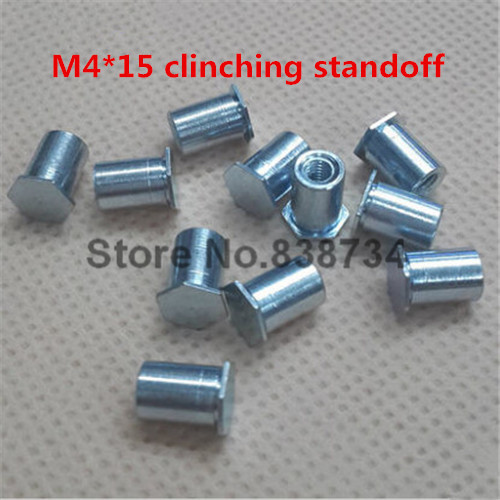 100pcs m4*15 steel with zinc coated self clinching standoff blind thread steel fastener stud